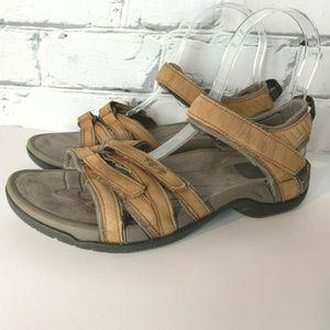 Teva Sandals Size 7.5 Tirra Leather Chestnut Brown